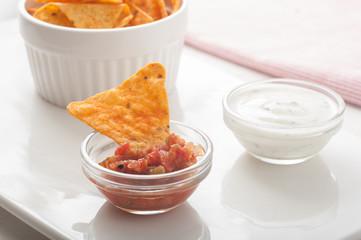 Tortilla chips and deep sauce