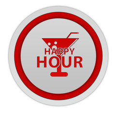 Happy hour circular icon on white background