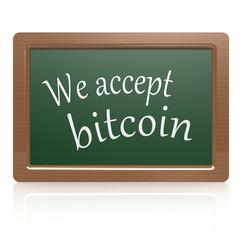 We accept bitcoin black board