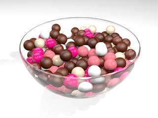 Glasschale Schüssel Gummibälle Kaugummi Bonbons Kugeln bunt