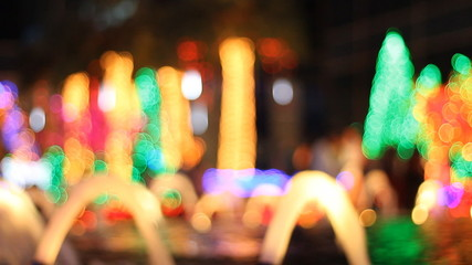 Colorful bokeh of christmas night