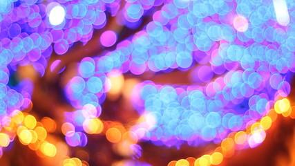 Colorful bokeh of Christmas night.
