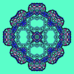 Trippy flower. Acid art. Oriental mandala  bright green element.