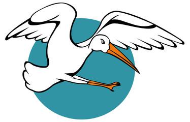 Stork Flying Striking with Leg Forward