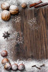 nuts and spices for holiday baking and Christmas drinks