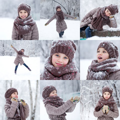 Collage, happy little girl on the background of a winter park