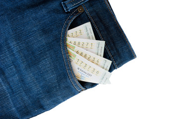 The jeans pocket with Thai lottery