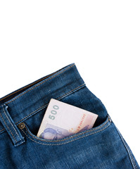 The jeans pocket with money Thai baht