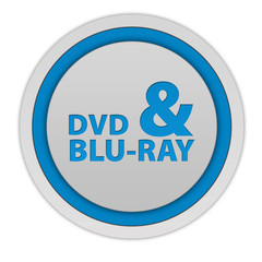 Dvd and bluray circular icon on white background