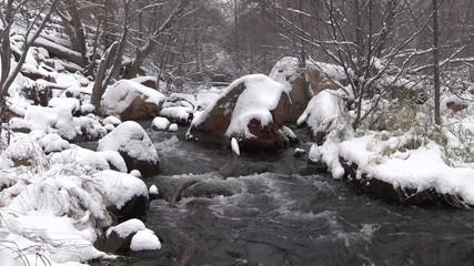 Stream Flowing in Winter Landscape