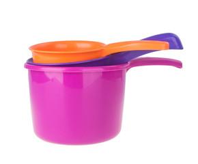 plastic water scoop. plastic water scoop on the background.