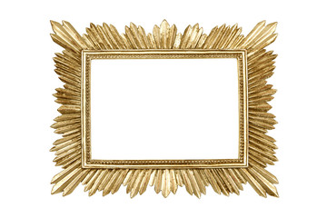 Golden picture frame isolated on white background with clipping