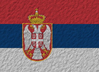 Serbia flag stone