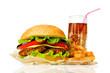 Big hamburger, French fries  and cola