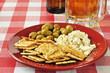 Mediterranean appetizer with beer