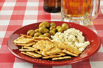 Mediterranean appetizer with beer