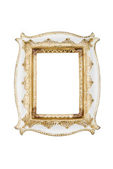 Carved picture frame isolated over white with clipping path.