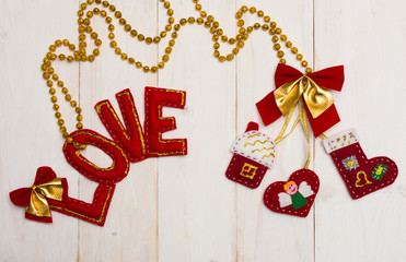 Red letters of love and textile heart, house, shoes
