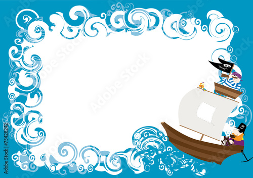 Pirates ship with white text blox to fill in - vectors