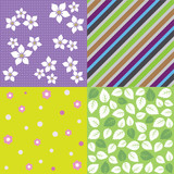 Four seamless spring background patterns