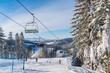 Ski lift in Wierchomla winter resort, Poland - 75431063