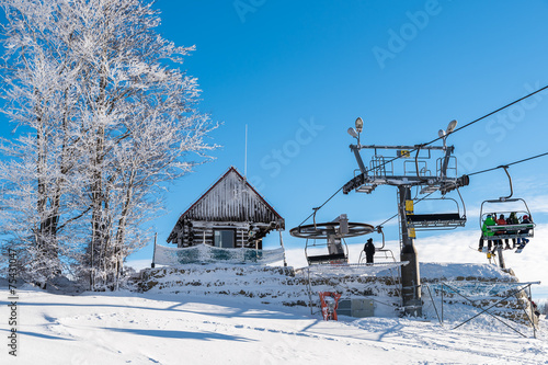 Ski lift in Wierchomla winter resort, Poland