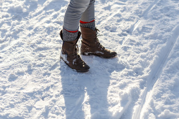 Girl's Legs in the Snow