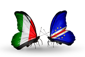 Two butterflies with flags Italy and Cape Verde