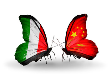 Two butterflies with flags Italy and China