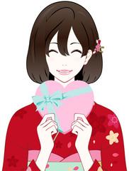 着物の女性 プレゼント 笑顔