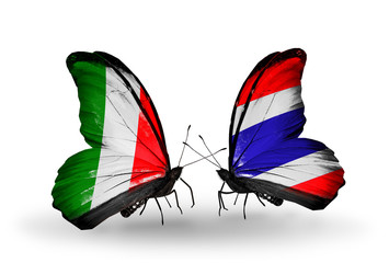 Two butterflies with flags Italy and Thailand