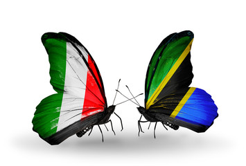 Two butterflies with flags Italy and Tanzania