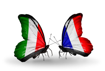 Two butterflies with flags Italy and France