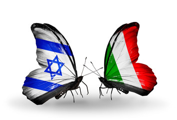 Two butterflies with flags Israel and  Italy