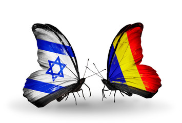Two butterflies with flags Israel and  Chad, Romania