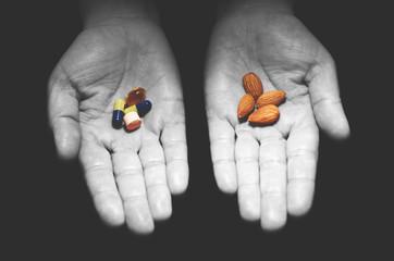 Almonds versus pills.