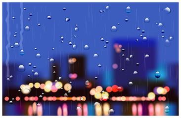 rainy city streets