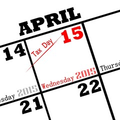2015 calendar date tax day icon