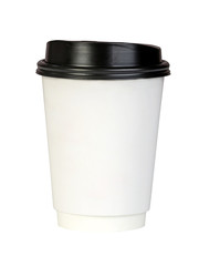 Paper coffee container with black lid on white background