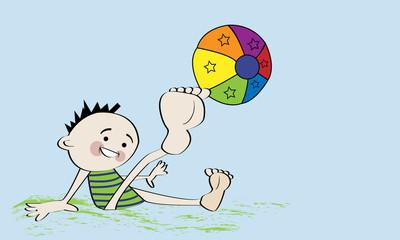 Niño dando patada a un balón.