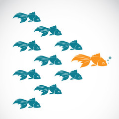 Vector image of an goldfish showing leader individuality success