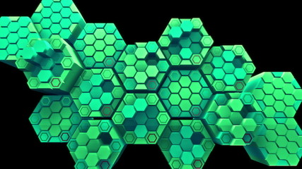 Abstract audio visualizer hexagon clusters thumping