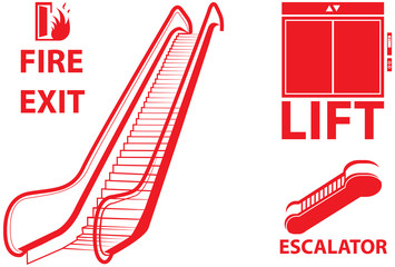 Vector design of elevator, lift and fire exit sign