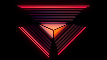 Abstract audio visualizer glowing triangle meters