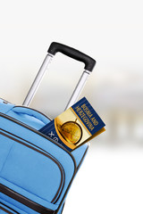 Bosnia and Herzegovina. Blue suitcase with guidebook.