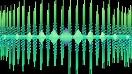 Abstract audio visualizer scrolling waveform beams