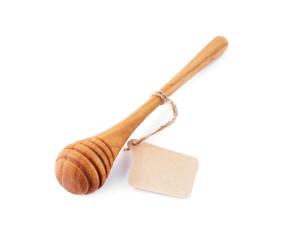 wooden honey stick isolated on white background