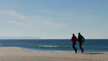 Middle-aged Couple Jogging on Ocean Sandy Beach