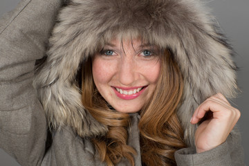 Girl Posing - Fashion Winter Dress Clothing