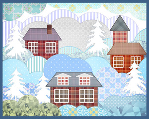 Background retro christmas patchwork nature winter picture illus
